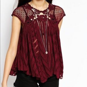 Free People Mesh Lace Flowy Shirt